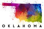 Oklahoma - State Abstract Watercolor - Lantern Press Artwork