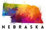 Nebraska - State Abstract Watercolor - Lantern Press Artwork
