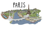 Paris, France - Cityscape - Line Drawing - Lantern Press Artwork