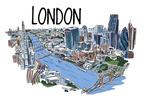 London, England - Cityscape - Line Drawing - Lantern Press Artwork