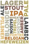 Beer Typography - Types of Beer - White Background - Lantern Press Artwork