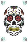 Day of the Dead - Sugar Skull & Flower Pattern (White & Magenta) - Lantern Press Artwork