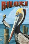 Biloxi, Mississippi - Brown Pelican - Lantern Press Artwork