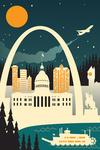 St. Louis, Missouri - Retro Skyline (no text) - Lantern Press Artwork