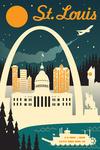 St. Louis, Missouri - Retro Skyline - Lantern Press Artwork