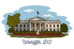 Washington, DC - White House - Line Drawing - Lantern Press Artwork