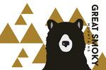 Great Smoky Mountains, Tennessee - Bear & Triangles - Yellow Horizontal - Lantern Press Artwork