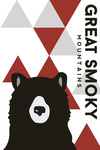 Great Smoky Mountains, Tennessee - Bear & Triangles - Red Vertical - Lantern Press Artwork