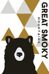 Great Smoky Mountains, Tennessee - Bear & Triangles - Yellow Vertical - Lantern Press Artwork