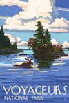 Voyageurs National Park, Minnesota - Moose Swimming - Lantern Press Artwork