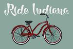 Ride Indiana - Beach Cruiser Bike - Lantern Press Artwork