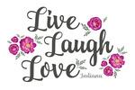 Indiana - Live, Laugh, Love - Pink Peonies - Lantern Press Artwork