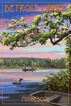 Detroit Lakes, Minnesota - Summer Lake Sunset - Lantern Press Artwork