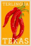 Terlingua, Texas - Red Chiles - Letterpress - Lantern Press Artwork