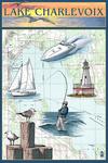 Charlevoix, Michigan - Nautical Chart - Lantern Press Artwork