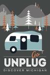 Discover Michigan - Go Unplug (Retro Camper) - Vector Style - Lantern Press Artwork