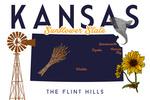 Kansas - Typography & Icons - Minimalist - Lantern Press Artwork