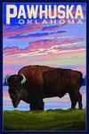 Pawhuska, Oklahoma - Buffalo & Sunset - Lantern Press Artwork