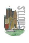 St. Louis, Missouri - Vintage Watercolor Skyline - Lantern Press Artwork