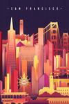 San Francisco, California - Neon Skyline - Lantern Press Artwork