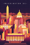 Washington DC - Neon Skyline - Lantern Press Artwork
