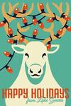 Lake Geneva, Wisconsin - Happy Holidays - Reindeer - Retro Christmas - Lantern Press Artwork
