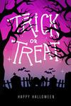Happy Halloween - Trick or Treat - Graveyard Cat - Lantern Press Artwork