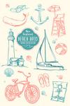 New England - The Beach Life - Icons - Lantern Press Artwork