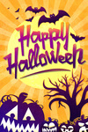 Happy Halloween - Bats & Pumpkins - Lantern Press Artwork