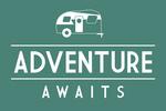 Adventure Awaits - Retro Camper - Simply Said - Lantern Press Artwork