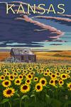 Kansas - Wheat Fields - Shack & Sunflowers - Lantern Press Artwork
