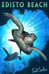 Edisto Beach, South Carolina - Sea Turtles Diving - Lantern Press Artwork