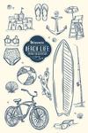 Delaware - The Beach Life - Beach Collage - Lantern Press Artwork