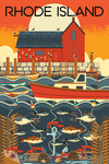 Rhode Island - Nautical Geometric - Lantern Press Artwork
