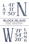 Block Island, Rhode Island - Latitude & Longitude - Lantern Press Artwork