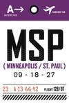 Minneapolis, Minnesota - MSP - Luggage Tag - Lantern Press Artwork