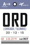 Chicago, Illinois - ORD - Luggage Tag - Lantern Press Artwork