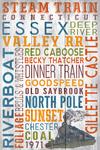 Connecticut - Steam Train - Typography - Lantern Press Artwork