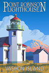 Point Robinson Lighthouse - Vashon Island, WA Font - Lantern Press Artwork
