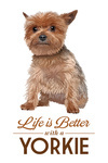 Yorkie - Life is Better - White Background - Lantern Press Artwork