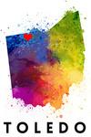 Toledo, Ohio - State Abstract Watercolor - Red Heart - Lantern Press Artwork