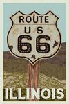 Route 66, Illinois - Letterpress - Lantern Press Artwork