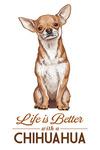 Chihuahua - Life is Better - White Background - Lantern Press Artwork