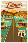 Illinois - Route 66 - Geometric - Lantern Press Artwork