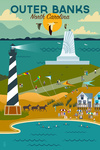 Outer Banks, North Carolina - Beach, Ocean, & Lighthouse - Geometric - Lantern Press Artwork
