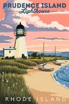Prudence Island, Rhode Island - Lighthouse - Lantern Press Artwork