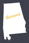 Homewood, Alabama - State Outline - White on Gray - Lantern Press Artwork