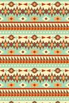 Tribal Inspired Pattern - Blue & Brown - Lantern Press Artwork