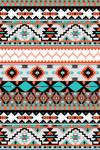 Tribal Inspired Pattern - Orange & Blue - Lantern Press Artwork