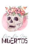 Dia De Los Muertos - Skull & Flower Crown - Watercolor - Lantern Press Artwork